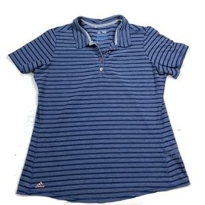 Adidas Polo Shirt Blue Striped Semi Sheer Mesh